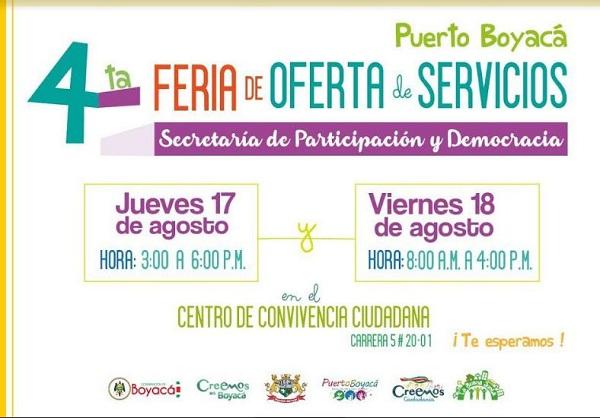 Participación y Democracia realiza Cuarta Feria Institucional de Servicios en Puerto Boyacá