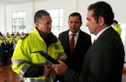 Gobernador y secretario General recibieron Escudo del Departamento de Policía de Boyacá