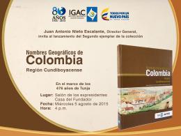 """Agustín Codazzi presentará la obra """"Nombres Geográficos de Colombia: región Cundiboyacense"""""""