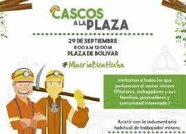 Mineros a la plaza de Bolívar en Tunja