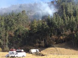 Continúan labores para extinguir incendio forestal en Chiquinquirá