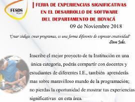 Educación invita a la I Feria de Experiencias Significativas en el Desarrollo de Software