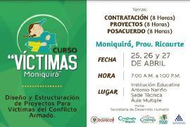 'Curso Víctimas Moniquirá' comienza este miércoles 25 abril