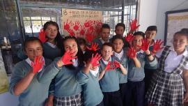 Sede Educativa Rural de El Espino conmemoró el Día de las Manos Rojas