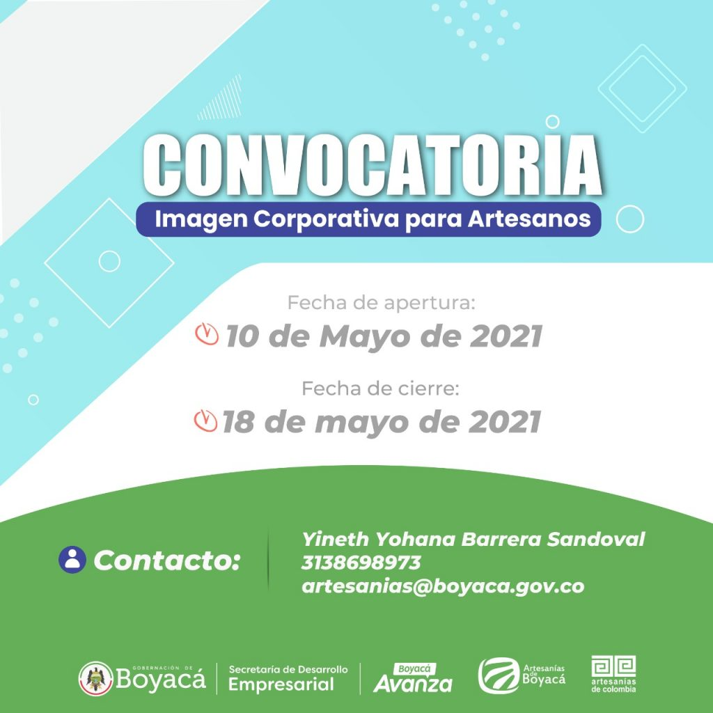 Apertura Convocatoria Imagen Corporativa para Artesanos, dirigida a unidades productivas del sector artesanal del departamento de Boyacá.