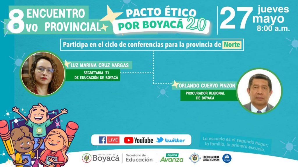 El Octavo Encuentro del Pacto Ético por Boyacá será en la Provincia Norte este 26 de mayo