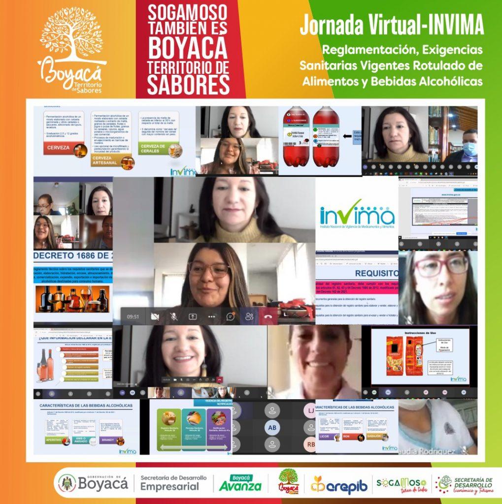 Más de 100 empresarios boyacenses participaron en la jornada virtual organizada por Boyacá Territorio de Sabores y el INVIMA