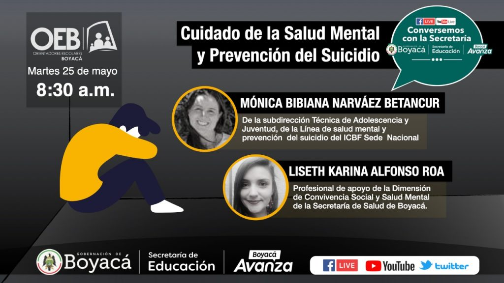 En encuentro virtual se abordará la prevención de conductas suicidas con docentes orientadores de Boyacá