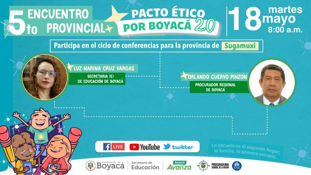 La provincia de Sugamuxi tendrá su Pacto ÉticoxBoyacá 2.0 este 18 de mayo