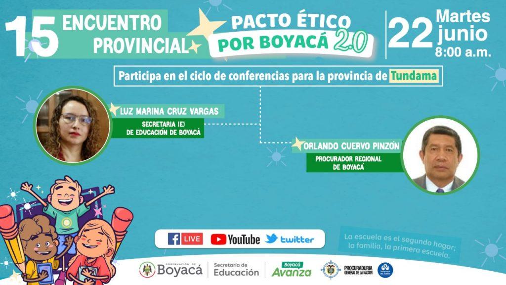 El penúltimo Pacto Ético por Boyacá analizará la convivencia escolar en la provincia de Tundama