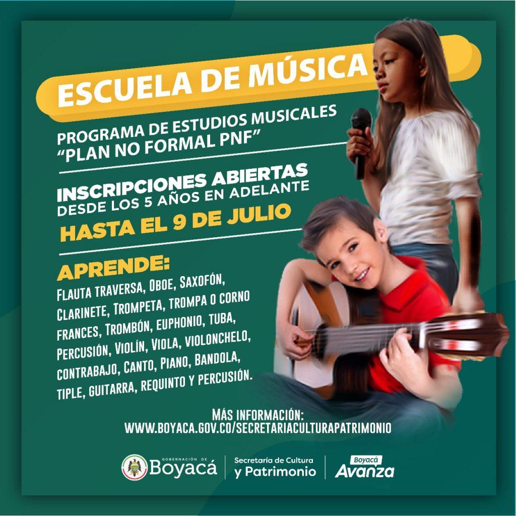 Se amplía el plazo de inscripciones al Plan No Formal de la Escuela de Música Gobernación de Boyacá convenio Colegio de Boyacá