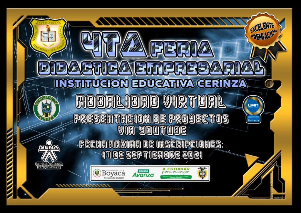 Secretaría de Educación invita a la Cuarta Feria Didáctica Empresarial de la Institución Educativa de Cerinza