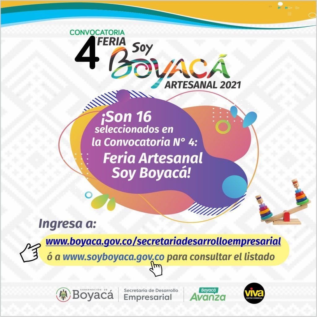 """¡Conozca los seleccionados de la Convocatoria No. 4 """"Feria Soy Boyacá Artesanal 2021""""!"""