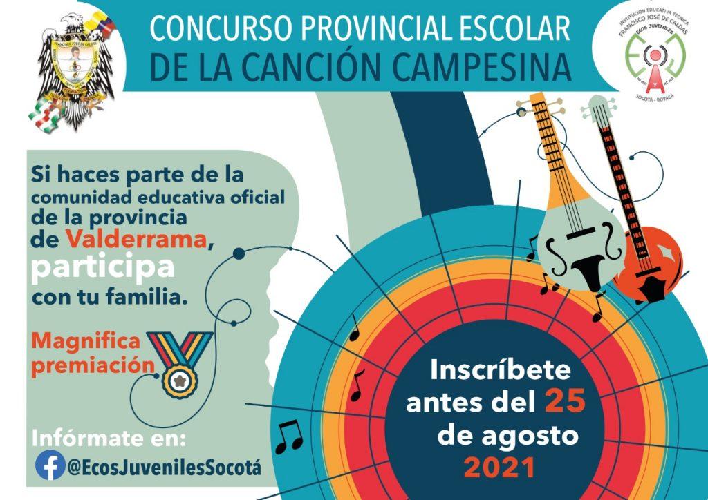Institución Educativa de Socotá invita a participar en la segunda versión del Concurso Provincial Escolar de la Canción Campesina